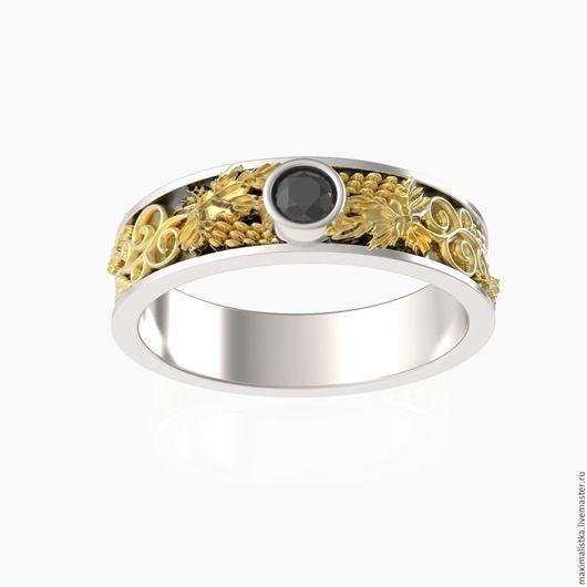 """Украшения для мужчин, ручной работы. Ярмарка Мастеров - ручная работа. Купить Кольцо """"Виноградная лоза"""" золотое, с золотом, из золота с бриллиантом. Handmade."""