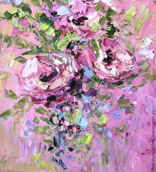 Картина маслом с красными и розовыми пионами розами на красном и розовом фоне. Автор художник Марина Маткина Пермь купить картины Москва Спб Питер