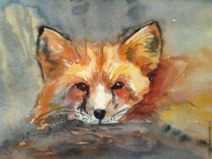 """Животные ручной работы. Ярмарка Мастеров - ручная работа Картина """"Грустный лис"""". Handmade."""