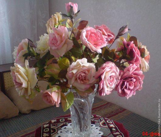 Букет роз  из ткани Розовое облако