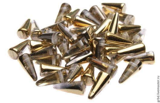 Для украшений ручной работы. Ярмарка Мастеров - ручная работа. Купить Чешские бусины Spikes 4x10mm, Amber/Crystal 26441CR. Handmade.