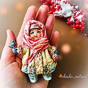 """Игрушки ручной работы. Ярмарка Мастеров - ручная работа Игрушки: Ватная елочная игрушка """"Девочка и снегирь"""". Handmade."""