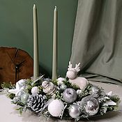 """Композиции ручной работы. Ярмарка Мастеров - ручная работа Новогодняя композиция со свечами """"лосёныш"""")). Handmade."""