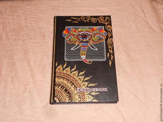 Ежедневник, ежедневник в подарок, ежедневник ручной работы, ежедневник с росписью, расписной ежедневник, блокнот, блокнот ручной работы, блокнот с узором, узор, индийский орнамент, индийский узор,слон