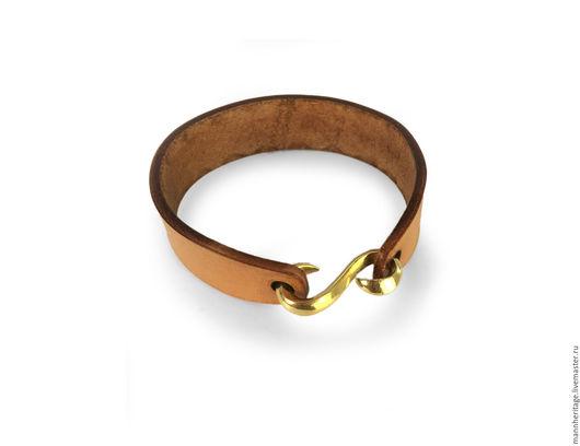 Браслеты ручной работы. Ярмарка Мастеров - ручная работа. Купить Кожаный браслет S-Hook - натуральный. Handmade. Натуральная кожа