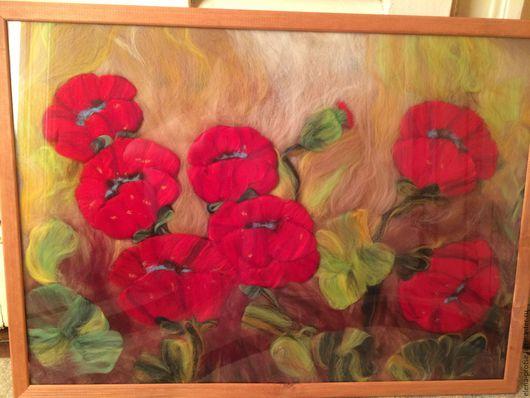 """Картины цветов ручной работы. Ярмарка Мастеров - ручная работа. Купить Картина из шерсти """"Маки"""". Handmade. Ярко-красный, картина"""