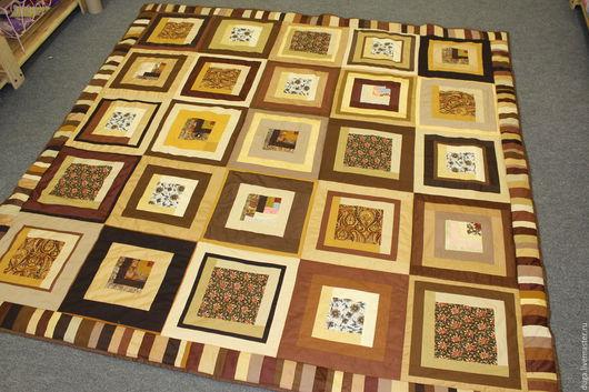 Текстиль, ковры ручной работы. Ярмарка Мастеров - ручная работа. Купить Покрывало из лоскутков  Плитка шоколада №1226. Handmade. Коричневый