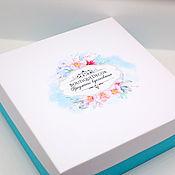 Материалы для творчества ручной работы. Ярмарка Мастеров - ручная работа Коробка с цветами и с вашим текстом. Handmade.