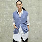Одежда ручной работы. Ярмарка Мастеров - ручная работа Кашемировый жилет вязаный Blue Melange. Handmade.