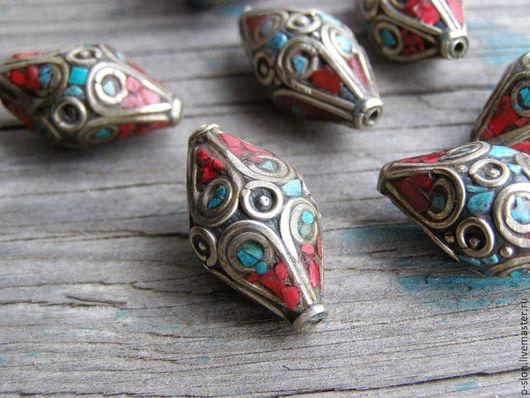 Для украшений ручной работы. Ярмарка Мастеров - ручная работа. Купить Бусины Тибет  с бирюзой и кораллом, Непал БН25. Handmade.