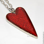 Украшения handmade. Livemaster - original item Heart pendant with sequins red. Handmade.
