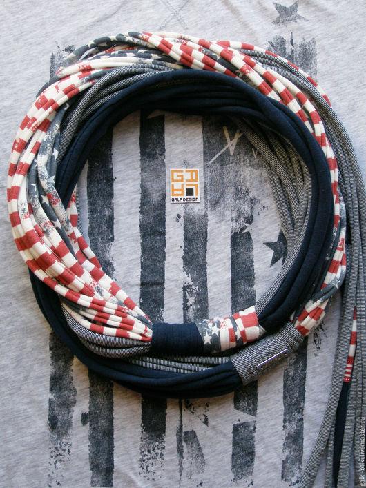 Колье, бусы ручной работы. Ярмарка Мастеров - ручная работа. Купить Трикотажный шарф-украшение Boston. Handmade. Американский флаг