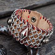 Украшения ручной работы. Ярмарка Мастеров - ручная работа Кожаный браслет с кольчужной накладкой (4). Handmade.