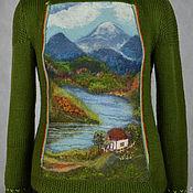 """Одежда ручной работы. Ярмарка Мастеров - ручная работа свитер вязано-валяный  комбинированный """"Домик у реки"""". Handmade."""