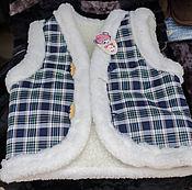 Одежда ручной работы. Ярмарка Мастеров - ручная работа Детская меховая жилетка шотландка. Handmade.