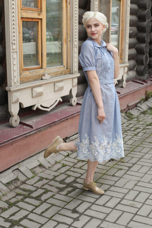 Летнее платье из голубого шитья, рукав-фонарик, декорированный лиф, Платья, Томск,  Фото №1