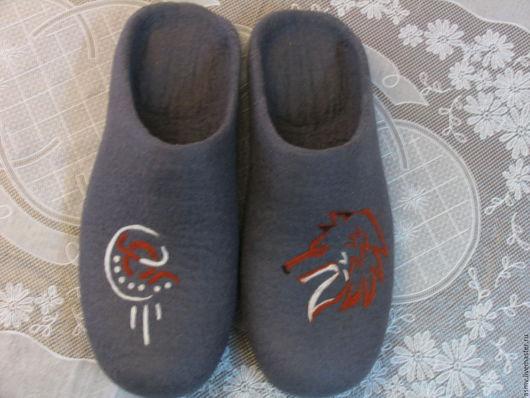 Обувь ручной работы. Ярмарка Мастеров - ручная работа. Купить Тапочки валяные, с рисунком, лис.. Handmade. Тапочки, тапочки мужские