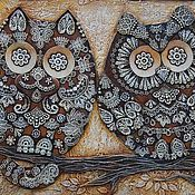 Картина рельефное панно Кот и Сова