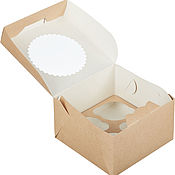 Тортовницы ручной работы. Ярмарка Мастеров - ручная работа Крафт-коробка для 4 капкейков, 160х160х100мм, с окном. Handmade.