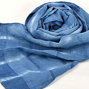 """Шарфы ручной работы. Ярмарка Мастеров - ручная работа Узкий шарф льняной """"Линия"""" морской индиго бело-синий. Handmade."""