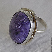 Украшения handmade. Livemaster - original item Ring with charoite Harmony - 1. Handmade.