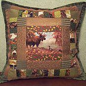 Для дома и интерьера ручной работы. Ярмарка Мастеров - ручная работа Лоскутная  подушка Лесные тропы. Handmade.