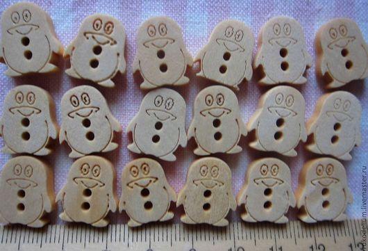 Шитье ручной работы. Ярмарка Мастеров - ручная работа. Купить Пуговица деревянная Пингвин. Handmade. Пуговицы деревянные, пуговицы для шитья