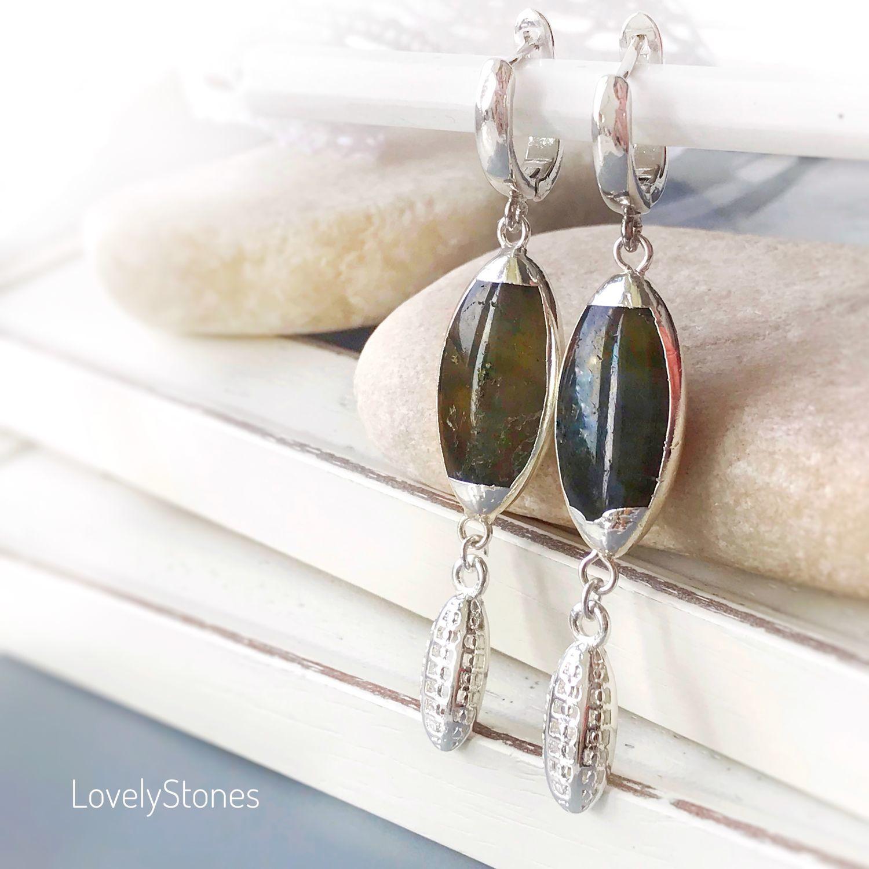 Earrings elongated Nature, mother of pearl, rhodium, Earrings, Yaroslavl,  Фото №1