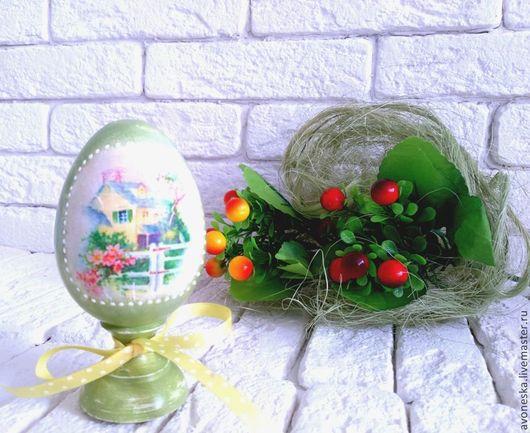 Яйца ручной работы. Ярмарка Мастеров - ручная работа. Купить Пасхальное яйцо на подставке. Handmade. Салатовый, яйцо пасхальное, винтаж