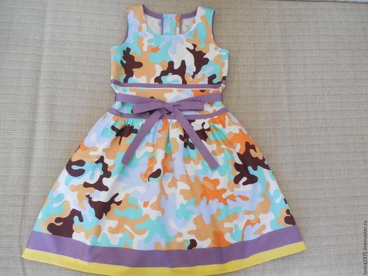 Одежда для девочек, ручной работы. Ярмарка Мастеров - ручная работа. Купить Рост 122.Платье летнее милитари-стиль.. Handmade.