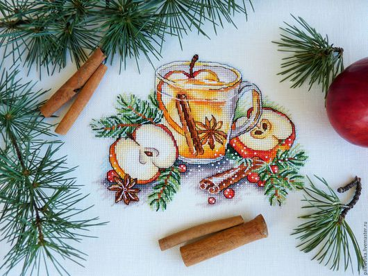 """Натюрморт ручной работы. Ярмарка Мастеров - ручная работа. Купить Вышитая картина """"Яблочный чай"""". Handmade. Комбинированный, новогодний интерьер"""
