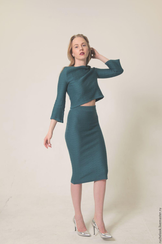 Костюм вязаный юбка и кофта купить