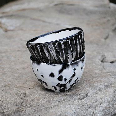 """Посуда ручной работы. Ярмарка Мастеров - ручная работа Набор мини-пиал """"Монохром"""". Handmade."""