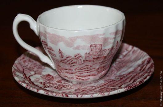 Винтажная посуда. Ярмарка Мастеров - ручная работа. Купить Винтажная кофейная пара, стаффордширский фарфор, Англия. Handmade. Бордовый