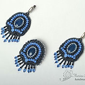 Украшения handmade. Livemaster - original item Earrings and brooch Tale beaded blue. Handmade.