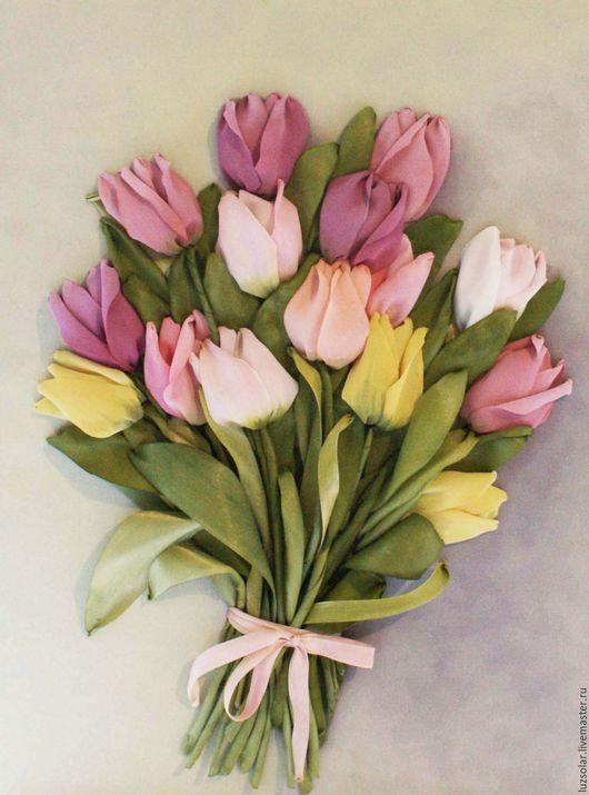 Картины цветов ручной работы. Ярмарка Мастеров - ручная работа. Купить Картина лентами Тюльпаны микс 30х40 см. Handmade.