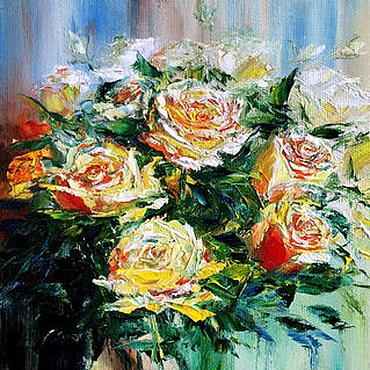 Картины и панно ручной работы. Ярмарка Мастеров - ручная работа Картина маслом Розы в подарок. Handmade.