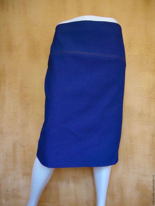 Юбки ручной работы. Ярмарка Мастеров - ручная работа. Купить Джинсовая юбка с карманами на кокетке размер 54. Handmade.