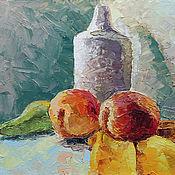 Картины и панно ручной работы. Ярмарка Мастеров - ручная работа Натюрморт с персиками. Handmade.