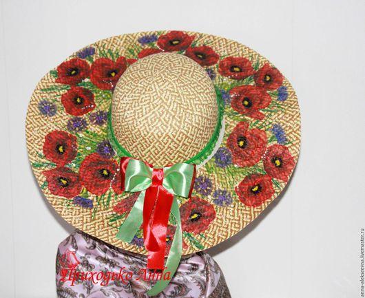 Шляпы ручной работы. Ярмарка Мастеров - ручная работа. Купить Шляпа летняя маки. Handmade. Комбинированный, подарочная коробка, декор