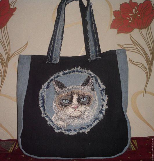 """Рюкзаки ручной работы. Ярмарка Мастеров - ручная работа. Купить Сумка """"Сердитый котик"""". Handmade. Комбинированный, рюкзак, рюкзачок"""