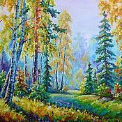 """Картины и панно ручной работы. Ярмарка Мастеров - ручная работа Картина """"Утренняя дымка в осеннем лесу или Моя светлая осень"""". Handmade."""