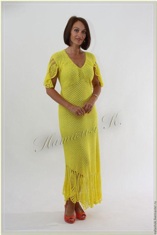 Платья ручной работы. Ярмарка Мастеров - ручная работа. Купить платье Sunlight. Handmade. Лимонный, платье вязаное, платье на заказ