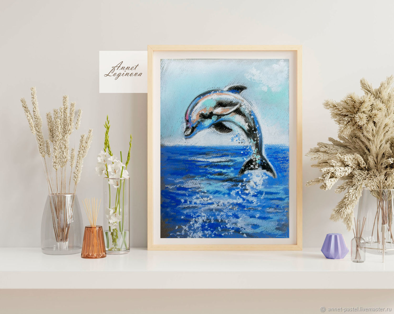 Синий дельфин, картина пастелью на бумаге, Картины, Москва,  Фото №1