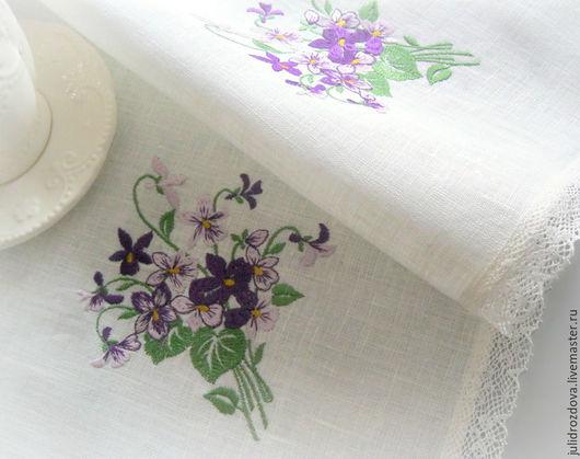 """Текстиль, ковры ручной работы. Ярмарка Мастеров - ручная работа. Купить """"Нежные букетики"""" льняная салфетка с изящным кружевом. Handmade."""
