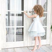 Работы для детей, ручной работы. Ярмарка Мастеров - ручная работа Нарядное голубое платье на выпускной из жаккарда. Handmade.