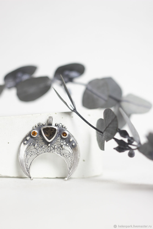 лунница филигранная из серебра с дымчатым кварцем и цитринами, Кулон, Санкт-Петербург,  Фото №1