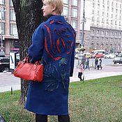 Одежда ручной работы. Ярмарка Мастеров - ручная работа Пальто валяное синее осеннее или демисезонное Пальто с розой. Handmade.