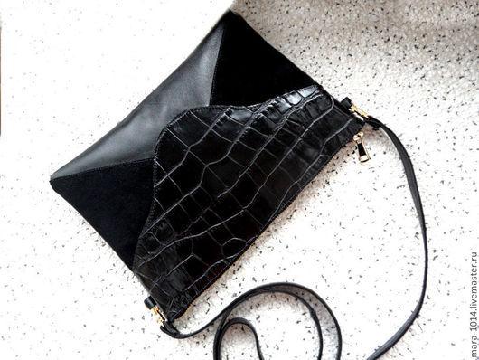 Женские сумки ручной работы. Ярмарка Мастеров - ручная работа. Купить ЧЕРНЫЙ КОНВЕРТ, сумочка из натуральной кожи. Handmade. Черный