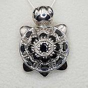 Украшения handmade. Livemaster - original item Silver pendant with black onyx and cubic zirconia. Handmade.